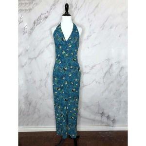 Isabel de Pedro Mr. Cat Teal Blue Halter Dress